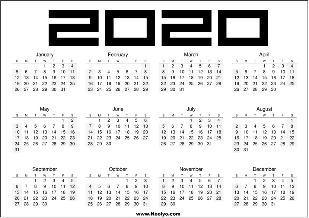 2020 Printable Calendar Black and White