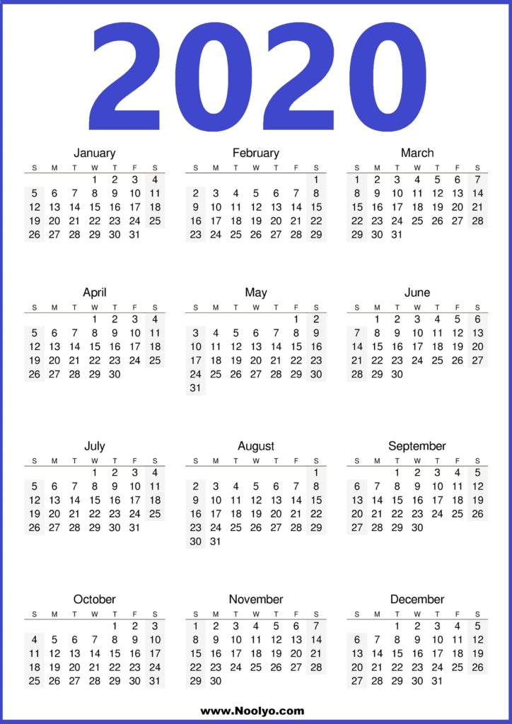 2020 Calendar Printable Template Free