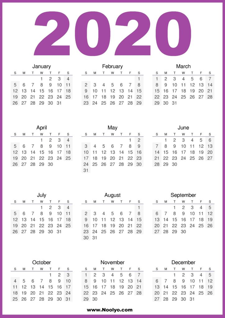 2020 Calendar Printable One Page HD