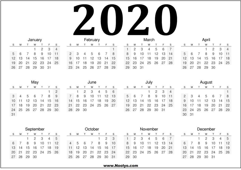 2020 Calendar One Page  Printable