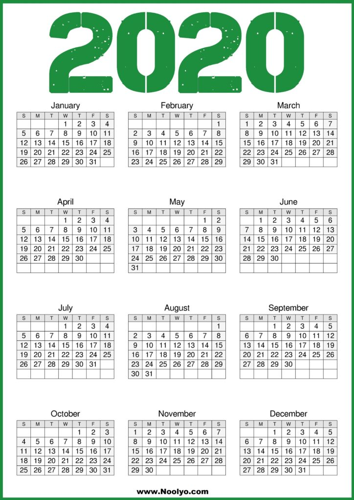 2020 Calendar Printable Template - Free Download