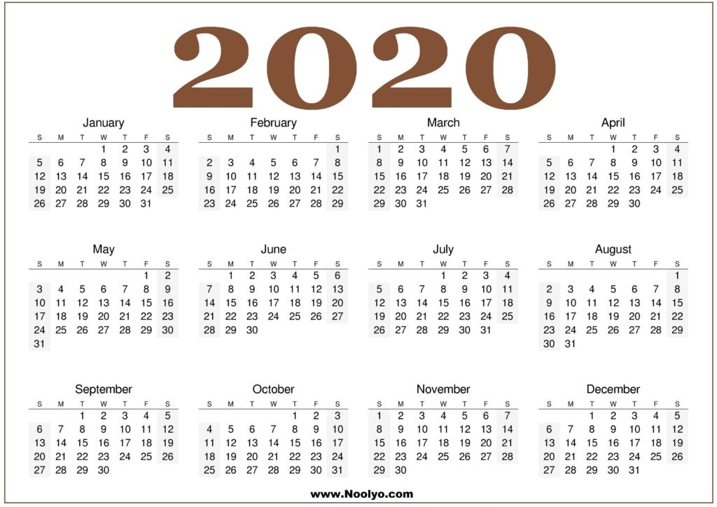 2020 Calendar Printable Free Download One Page