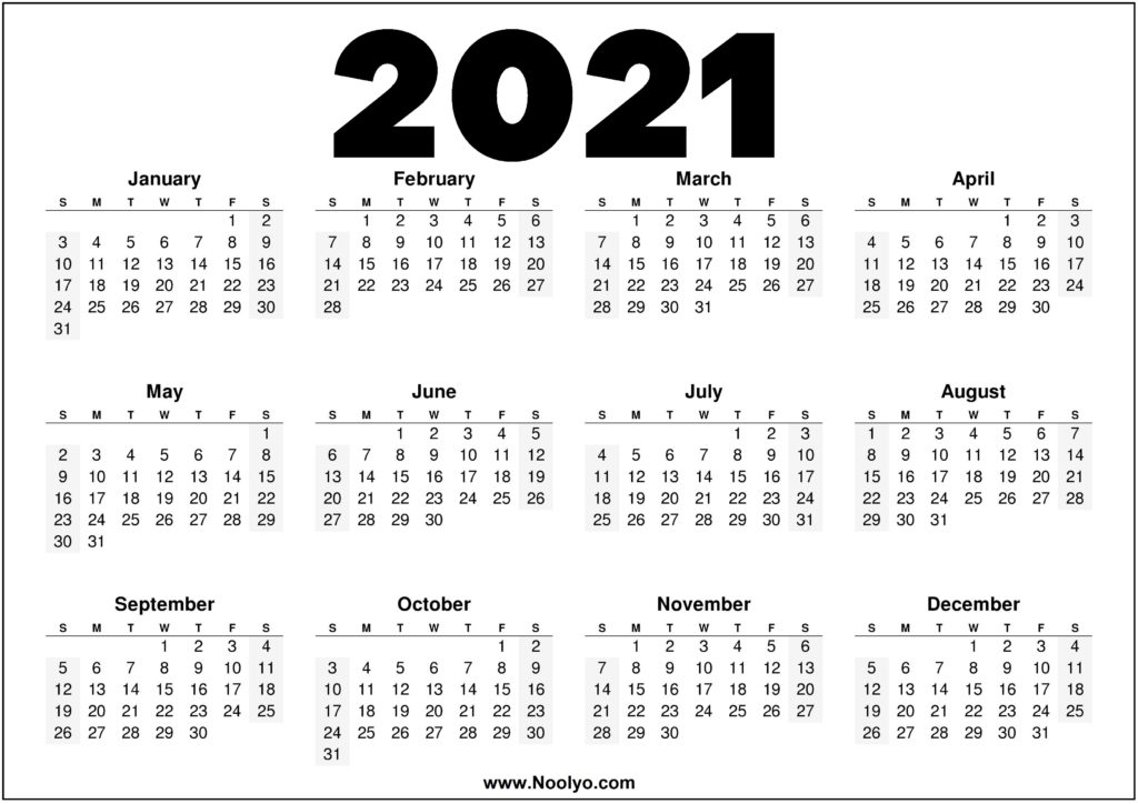2021 Year Printable Calendar Red, Black and White - Noolyo.com