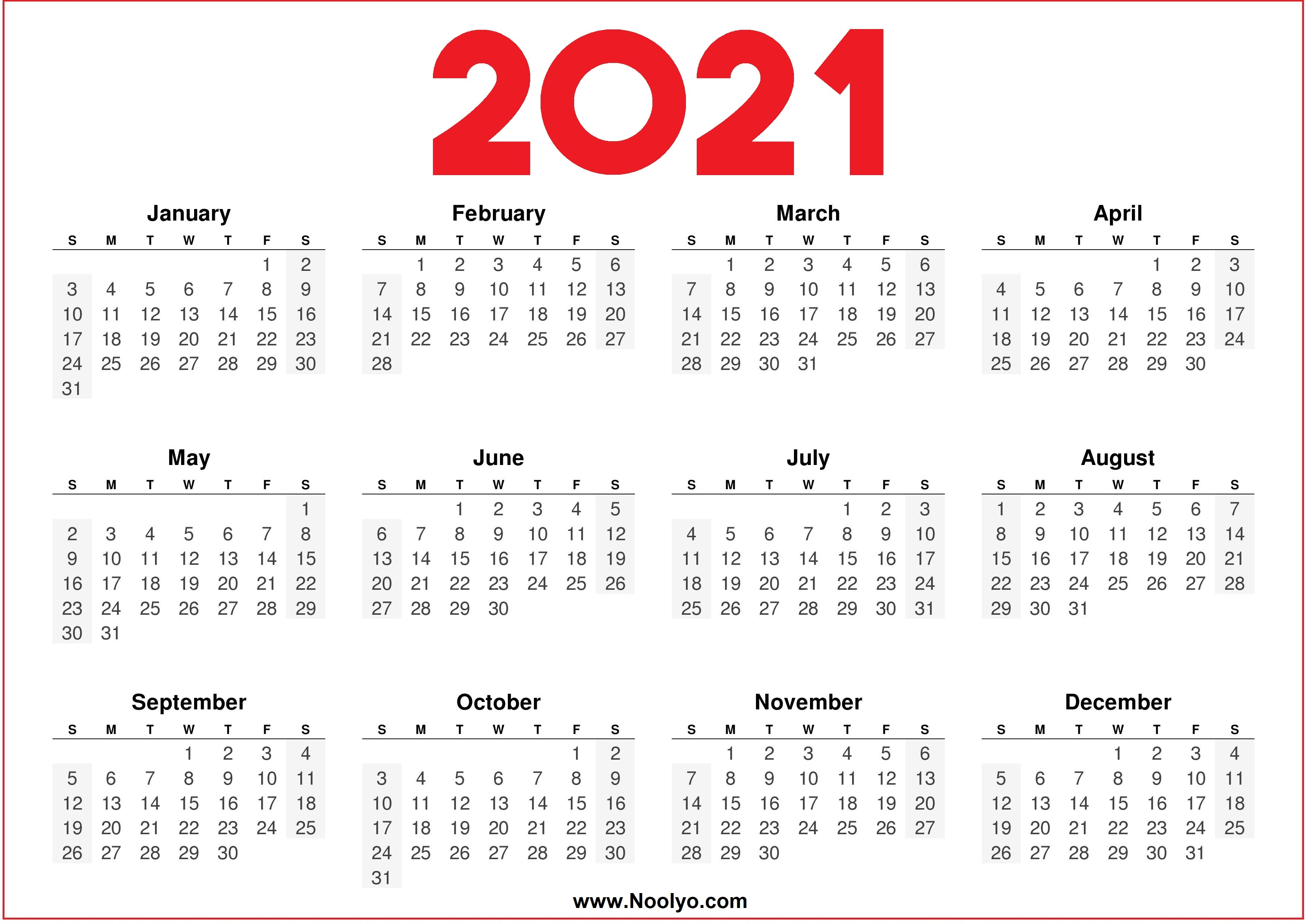 2021 Printable downloadable Calendar Red and White ...