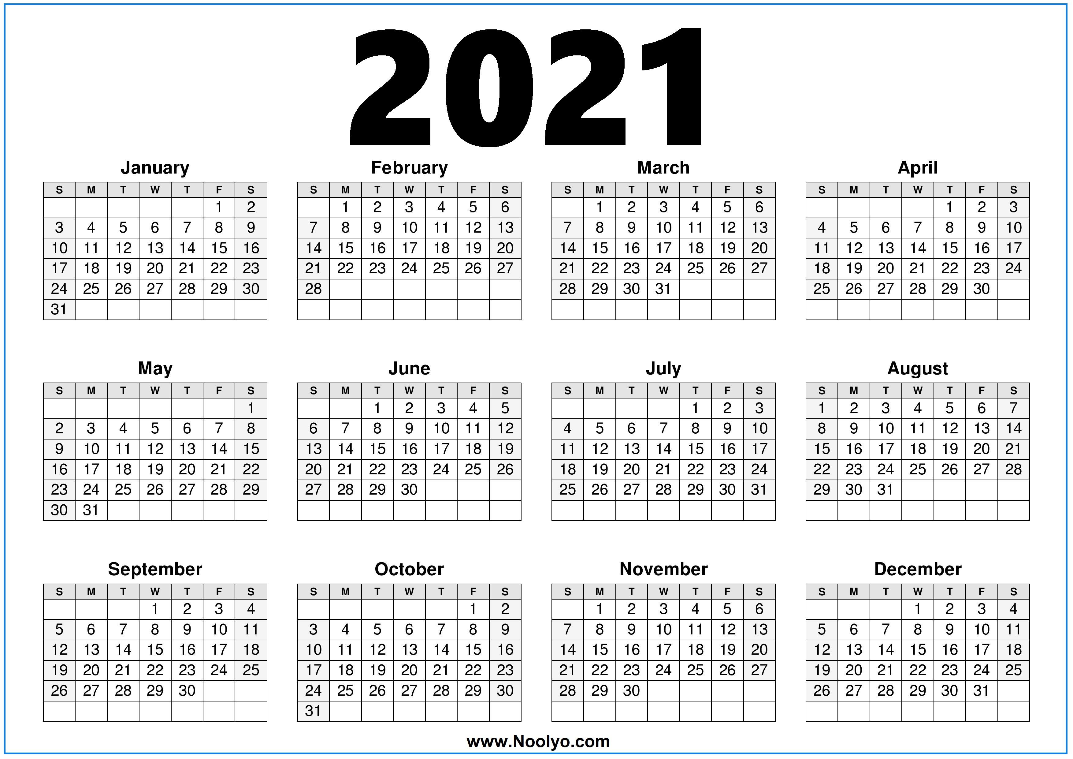2021 Calendar Printable Free One page - Noolyo.com