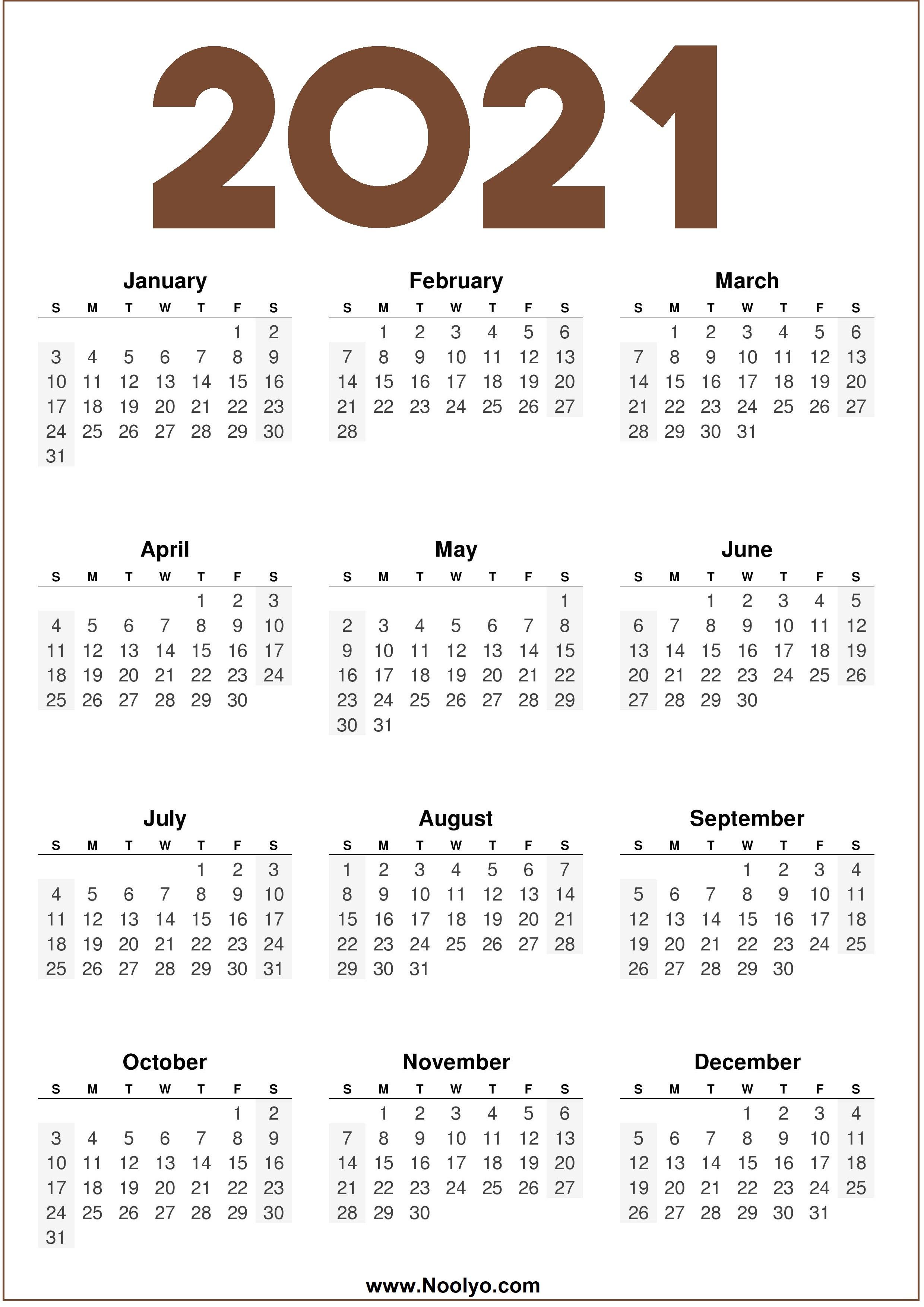 2021 Calendar One Page Printable - Noolyo.com