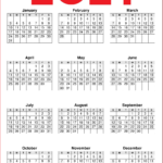 2021 Yearly Printable Calendars Red, Orange and White
