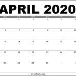 April 2020 Calendar Printable - Free Download