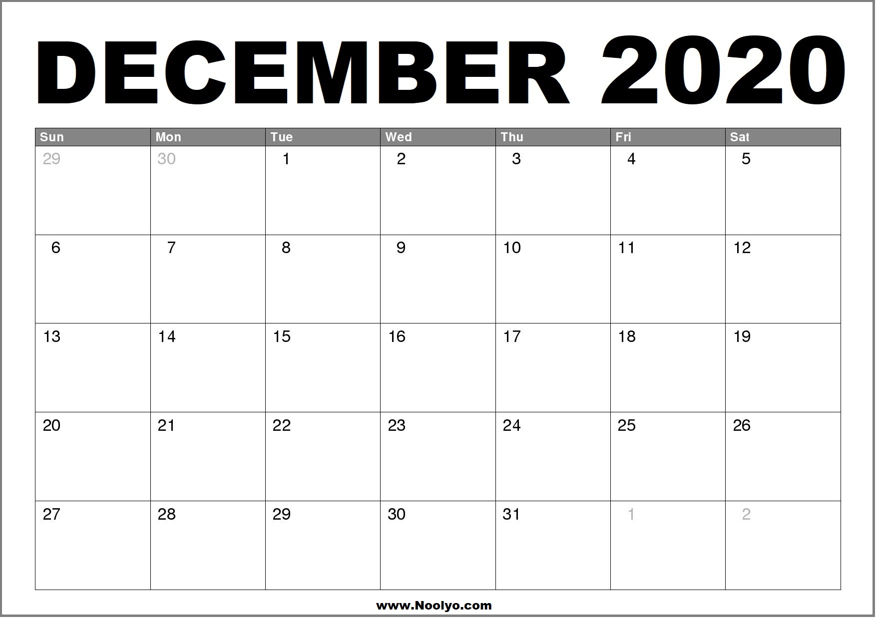 December 2020 Calendar Printable – Free Download – Noolyo.com
