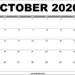 October 2020 Calendar Printable – Free Download