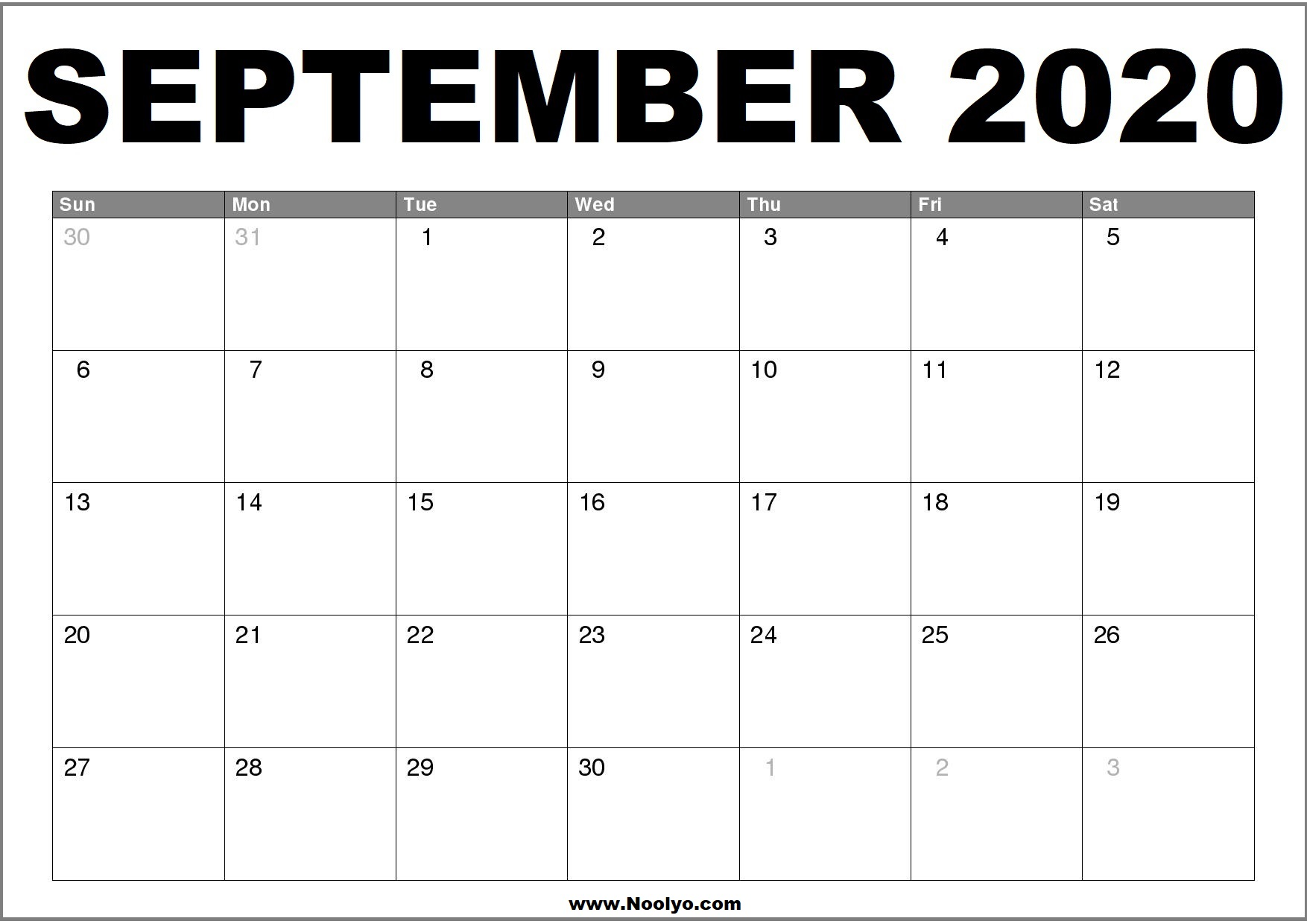 27+ Print Out Free September 2020 Calendar Printable Pictures