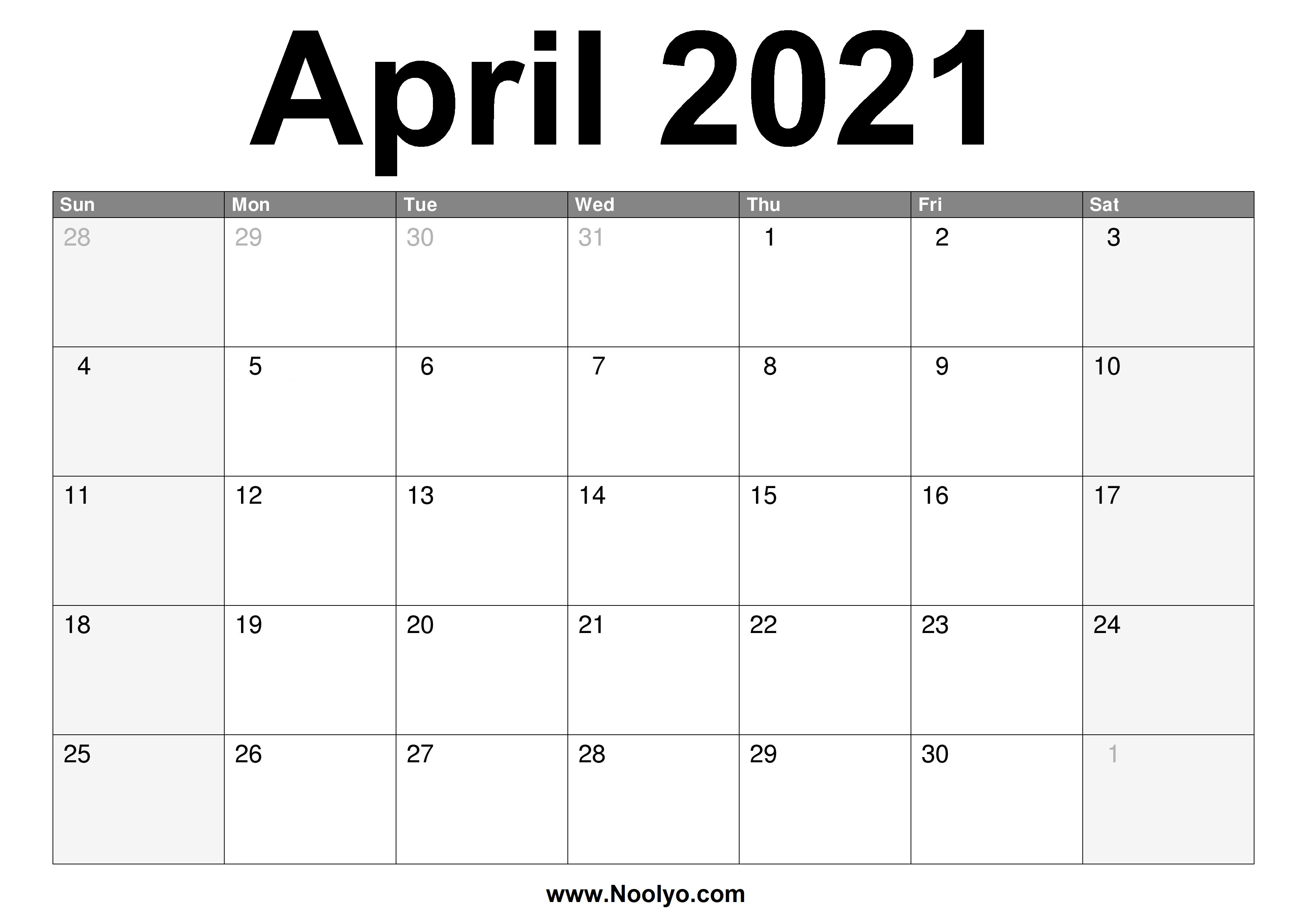 April 2021 Monthly Calendar | Calendar 2021