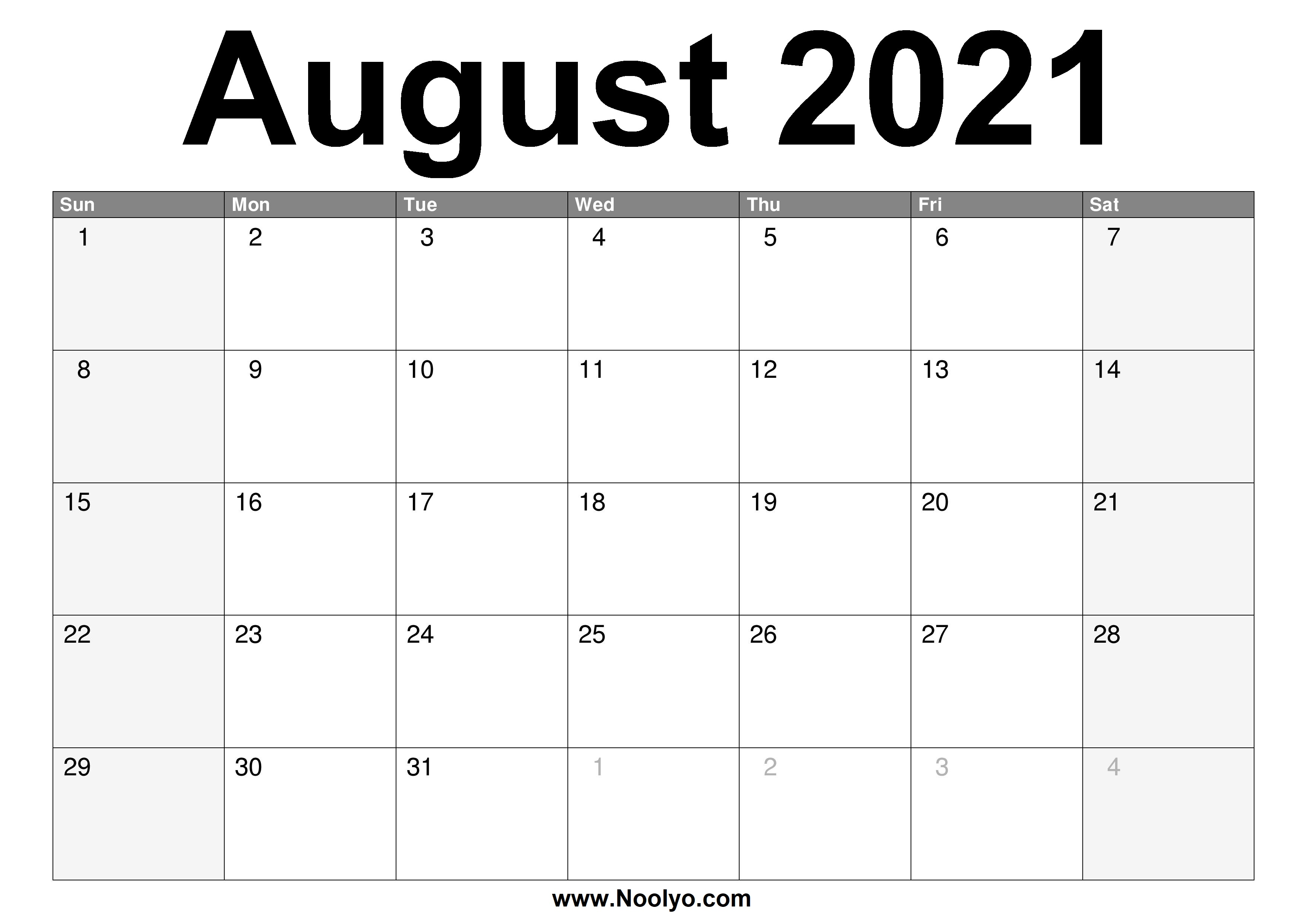 August 2021 Calendar Printable – Free Download – Noolyo.com