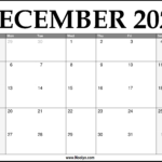 2021 December Calendar Printable – Download Free