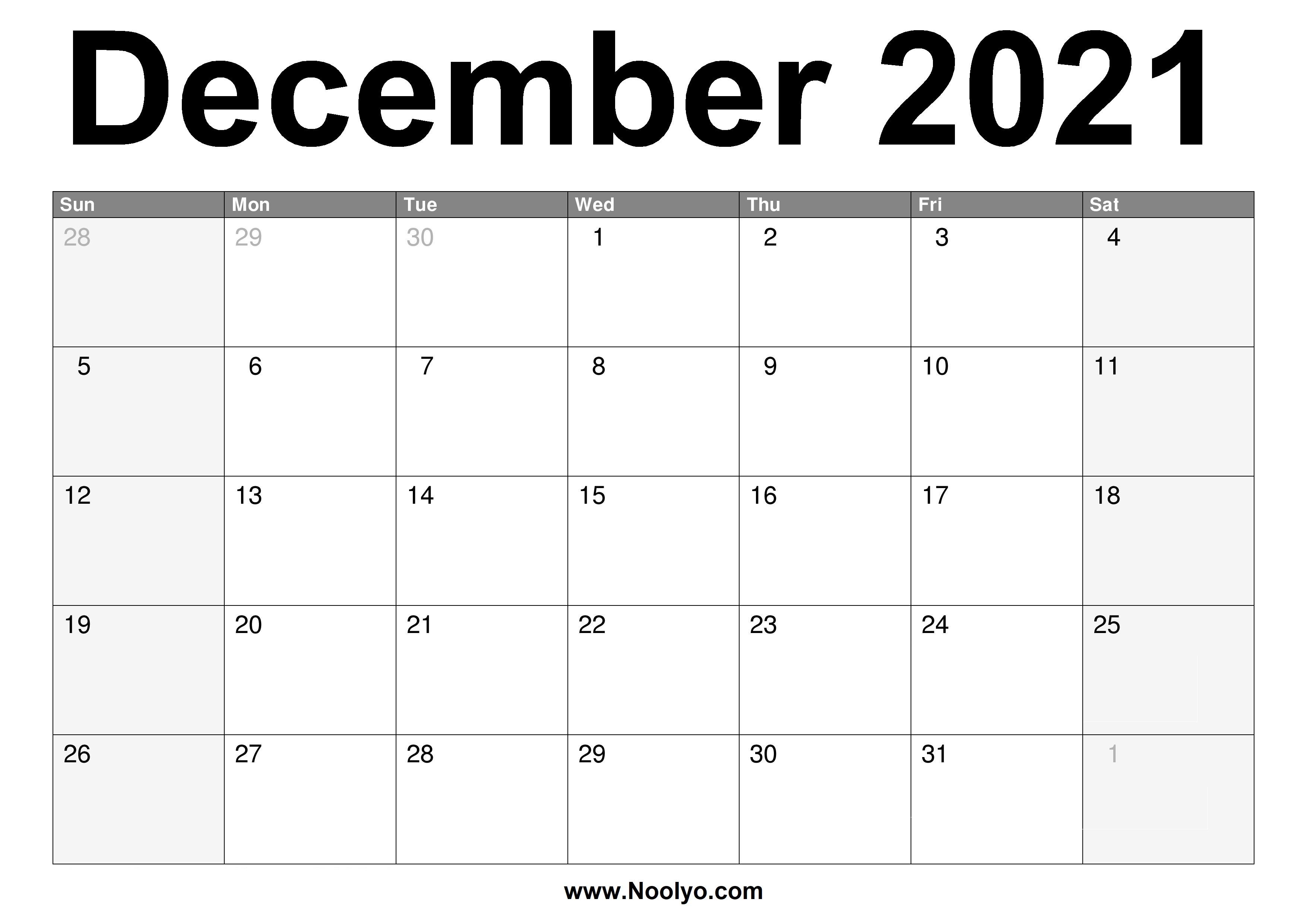 December Monthly Calendar 2021 December 2021 Calendar Printable – Free Download – Noolyo.com