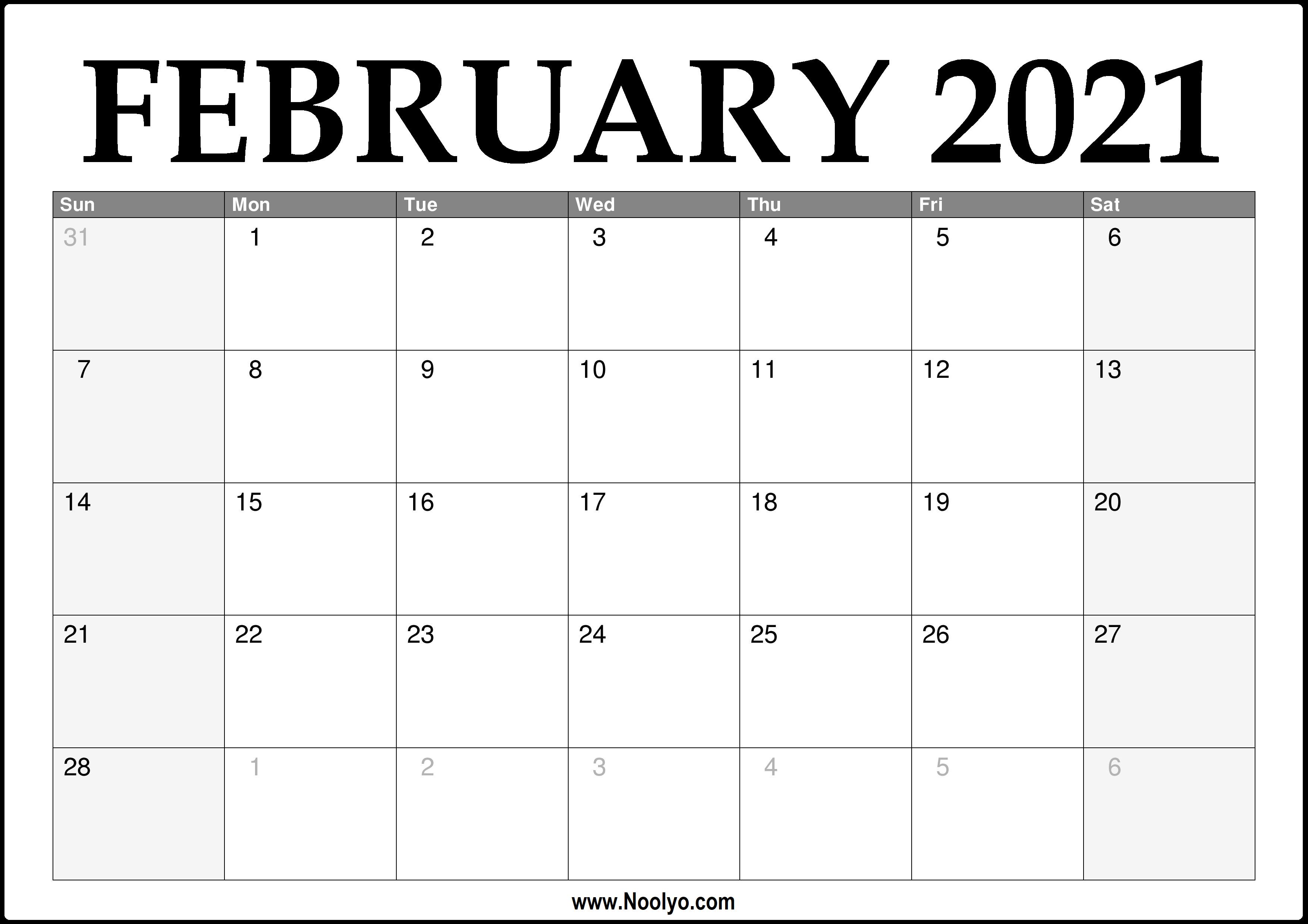 2021 February Calendar Printable - Download Free - Noolyo.com