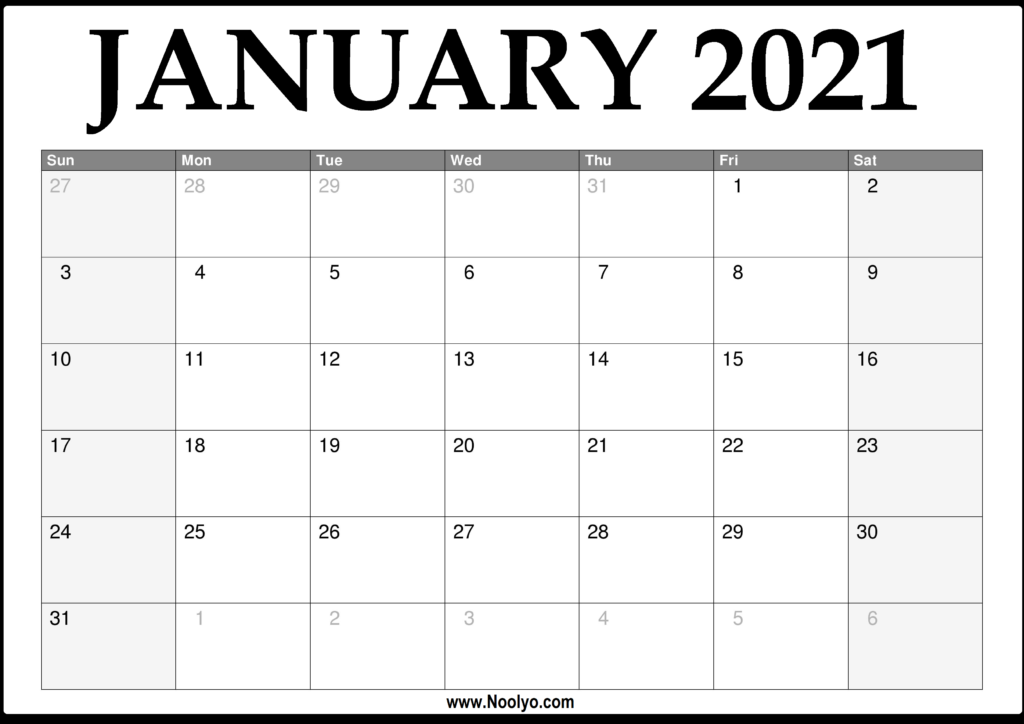2021 January Calendar Printable - Download Free - Noolyo.com
