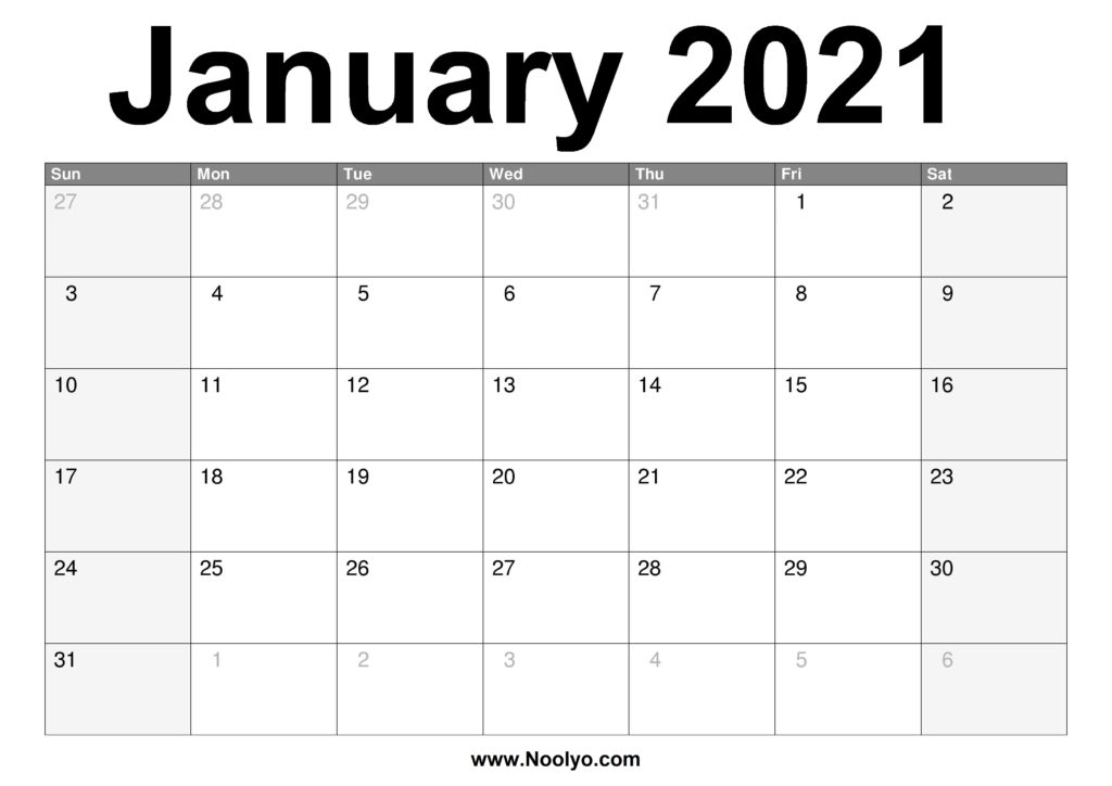 January 2021 Calendar Printable – Free Download