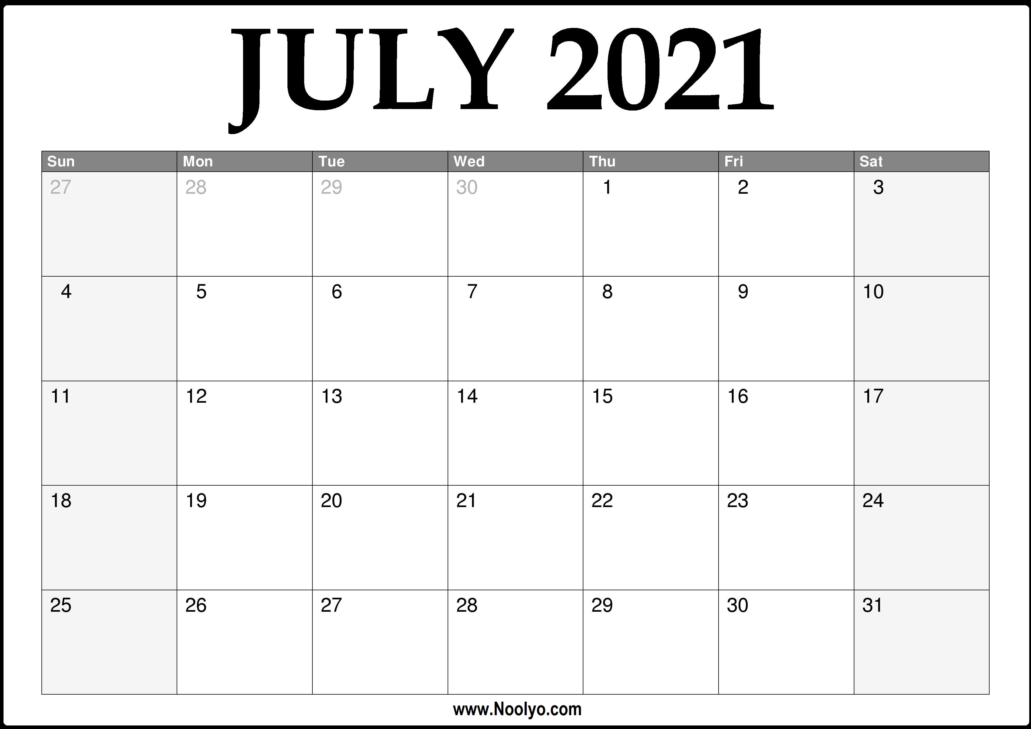 Monthly Calendar 2021 July | Calendar 2021