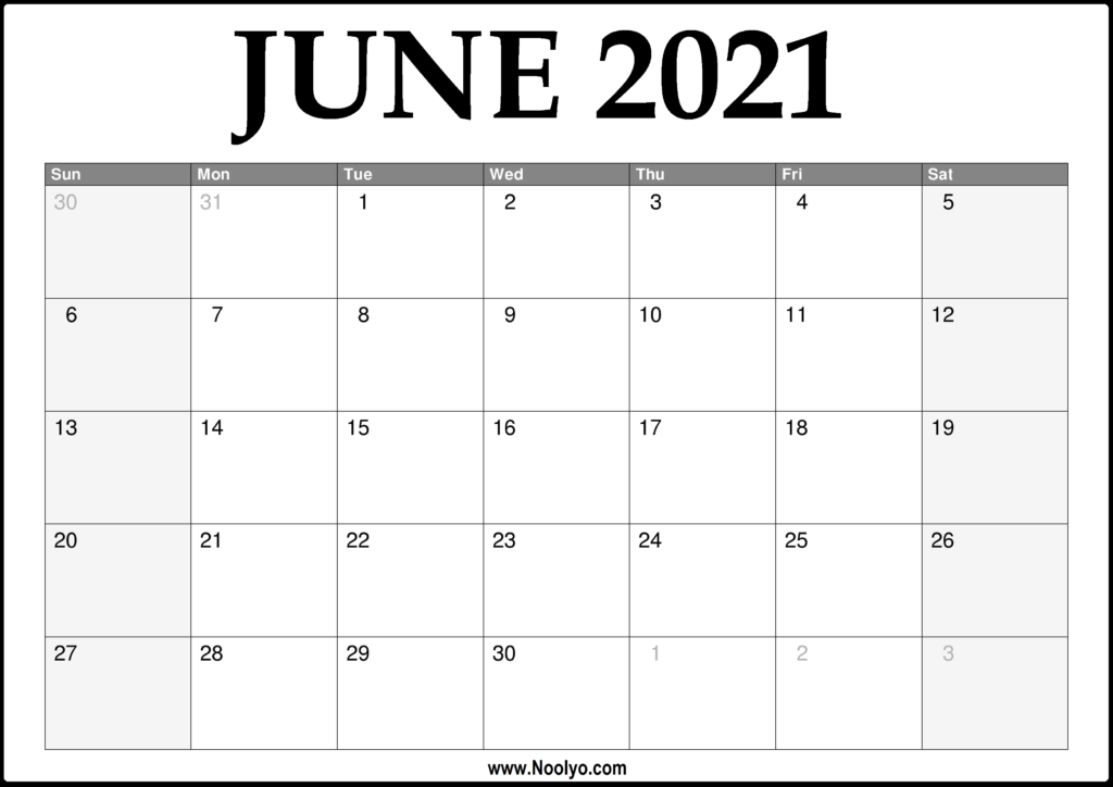 2021 June Calendar Printable - Download Free - Noolyo.com