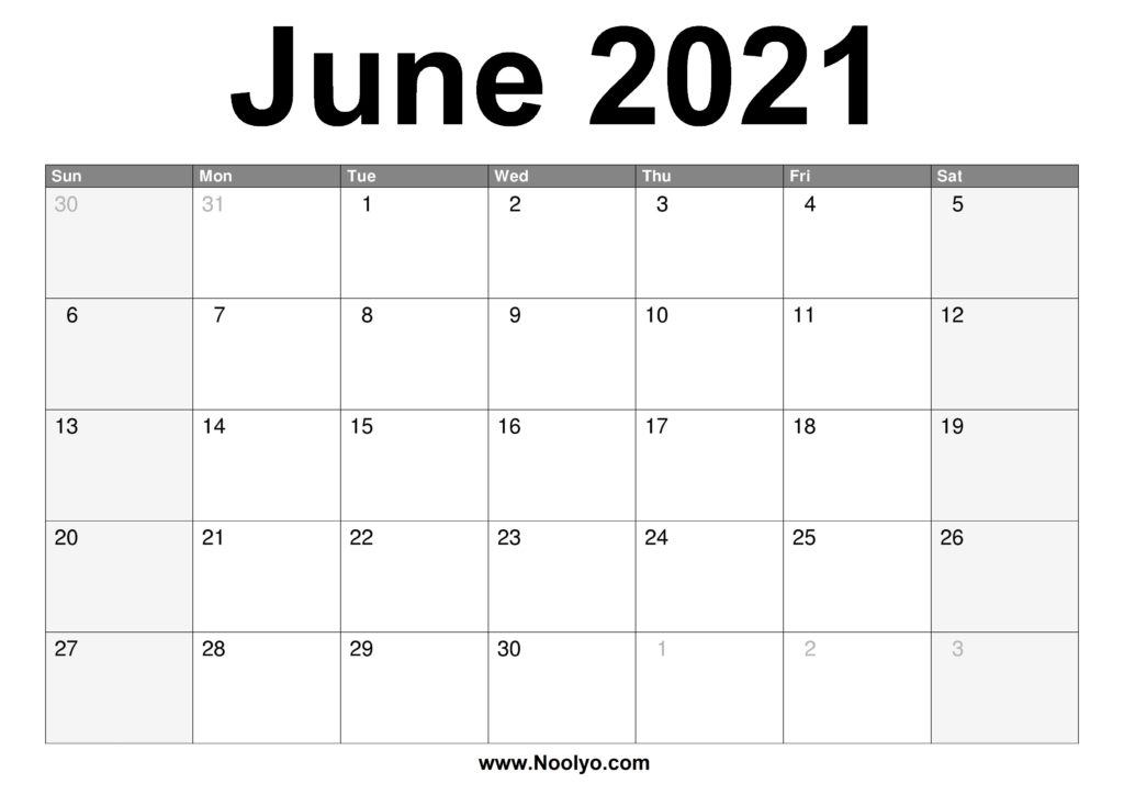 June 2021 Calendar Printable – Free Download