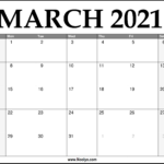 2021 March Calendar Printable – Download Free
