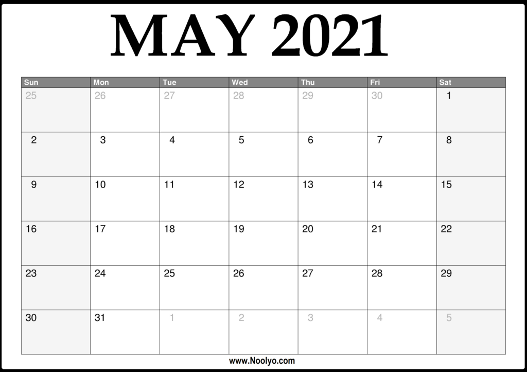 2021 May Calendar Printable - Download Free - Noolyo.com