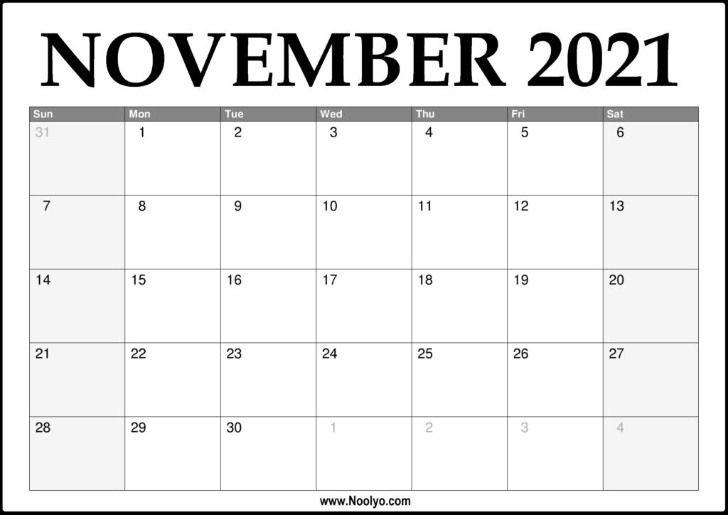 2021 November Calendar Printable - Download Free - Noolyo.com
