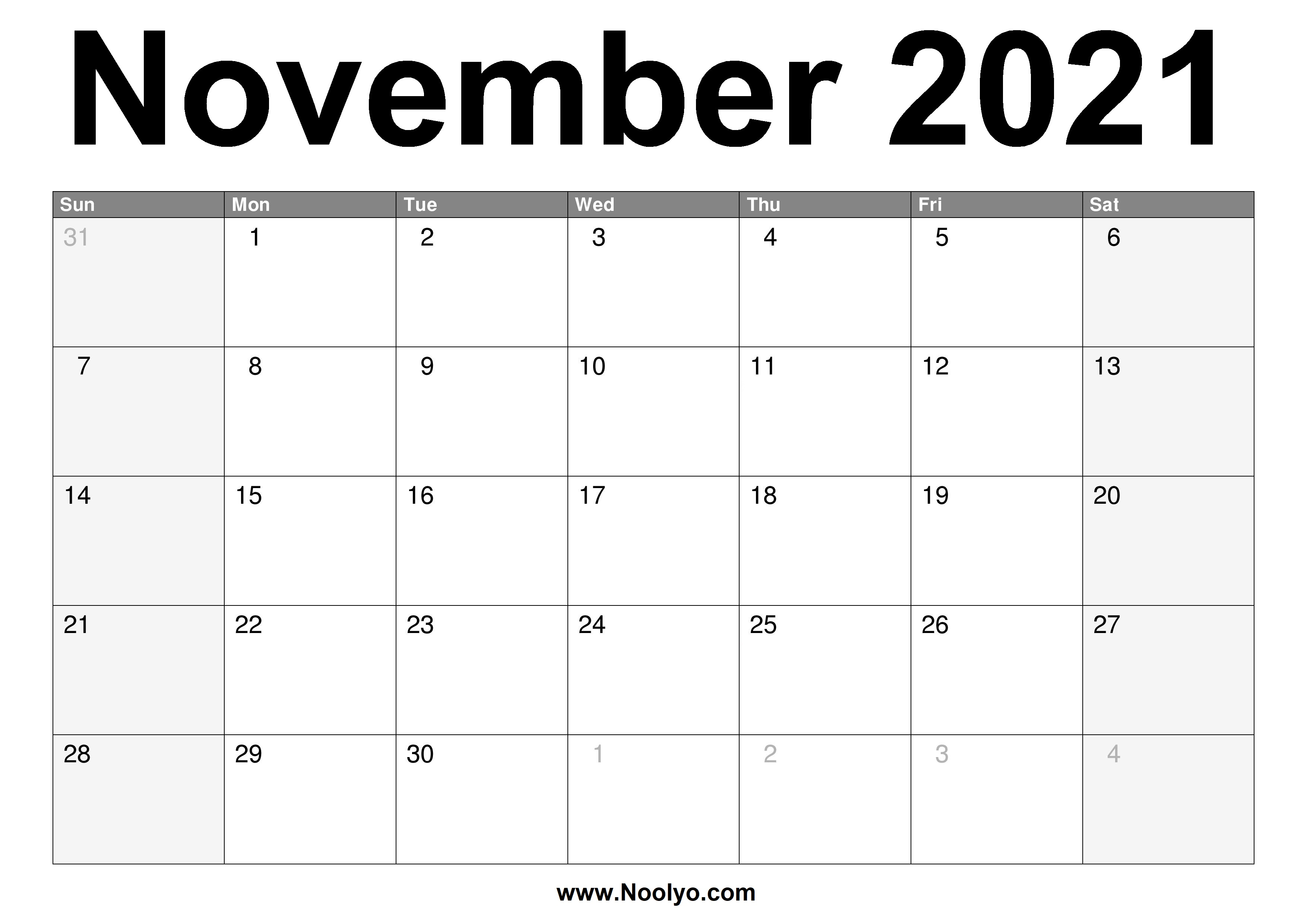 November 2021 Calendar Printable - Free Download - Noolyo.com
