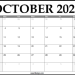 2021 October Calendar Printable – Download Free