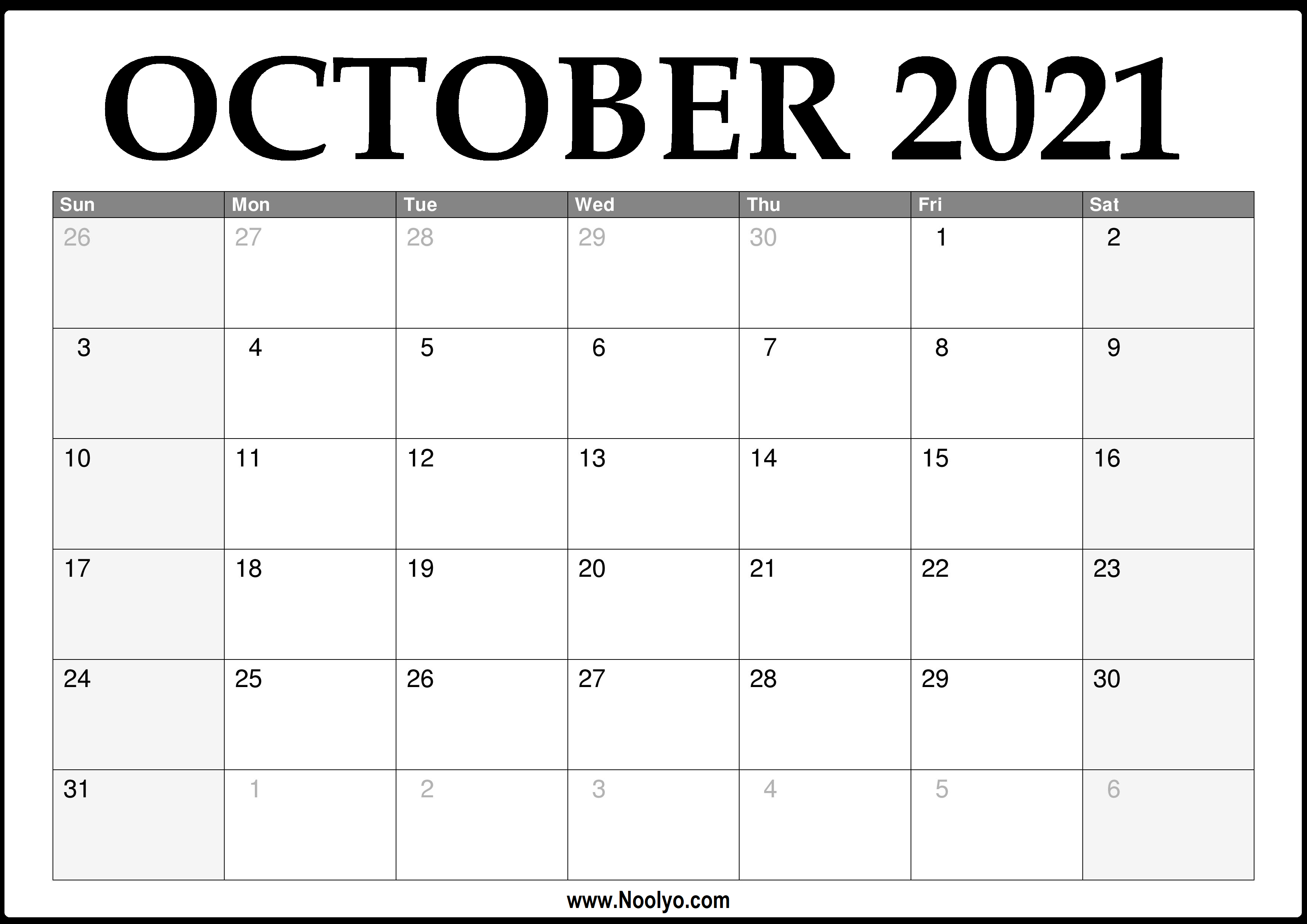 October 2021 Desktop Calendar 2021 October Calendar Printable – Download Free – Noolyo.com