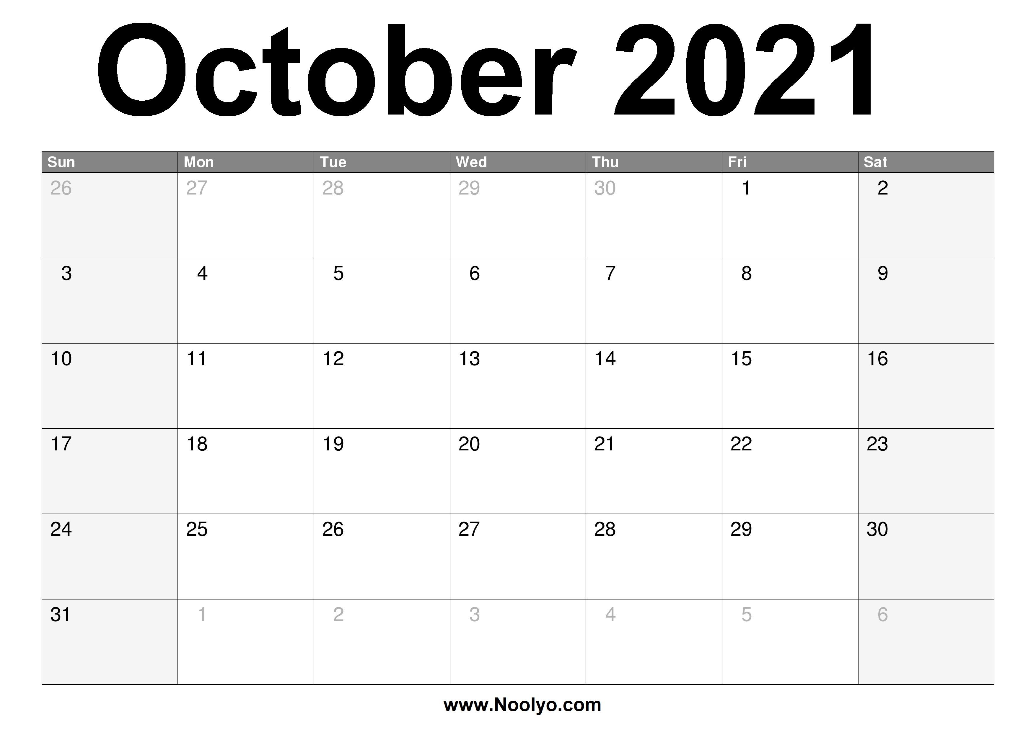 October 2021 Calendar Printable - Free Download - Noolyo.com