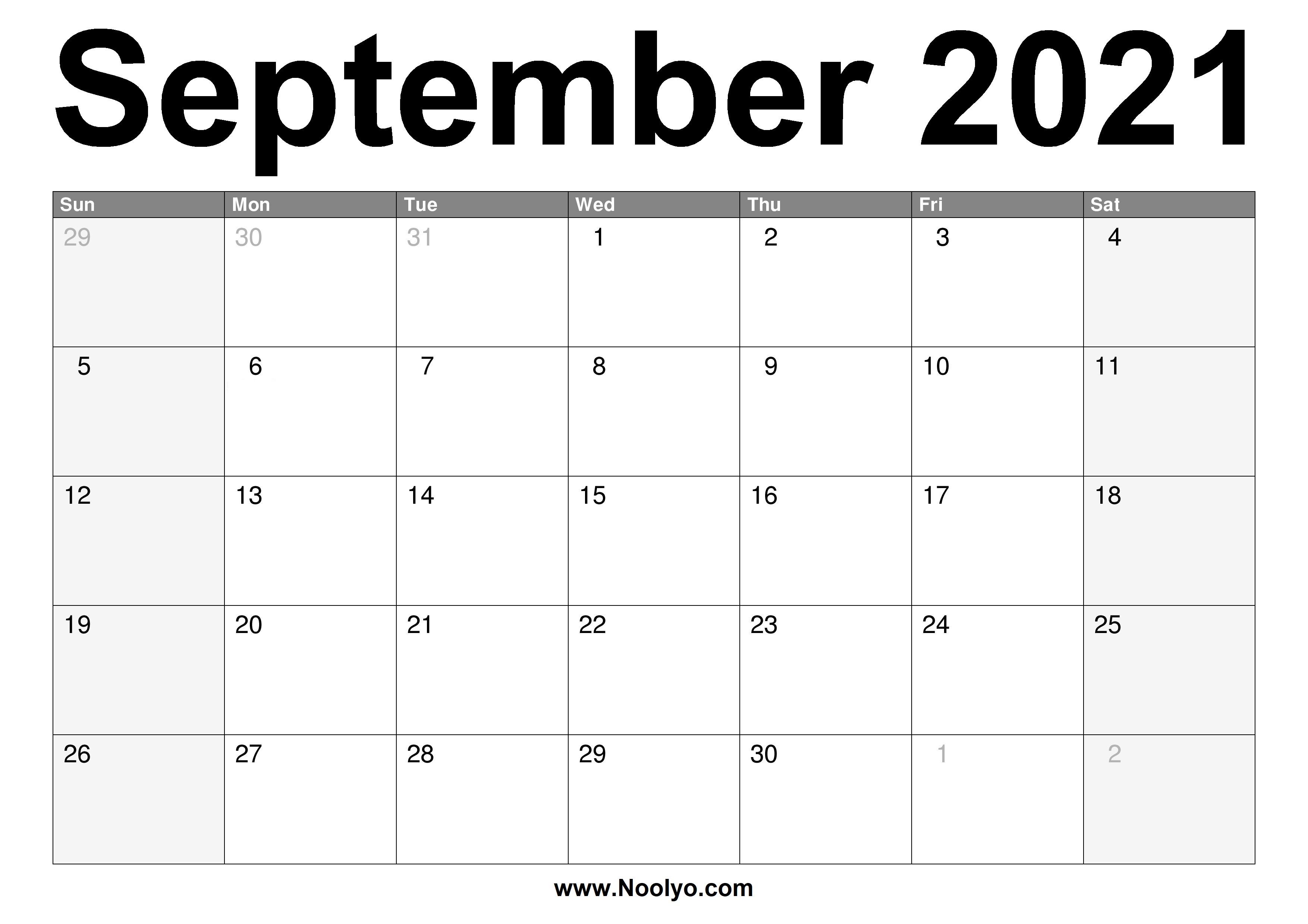 September 2021 Calendar Printable - Free Download - Noolyo.com
