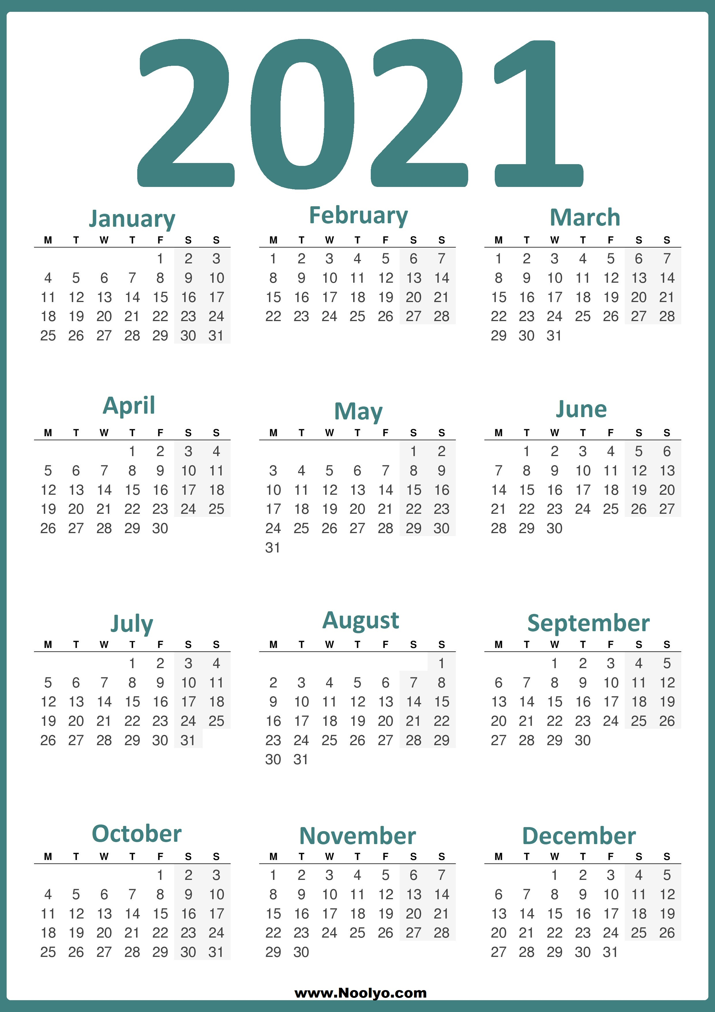 Printable 2021 Calendar Week Starts On Monday | Calendar Page