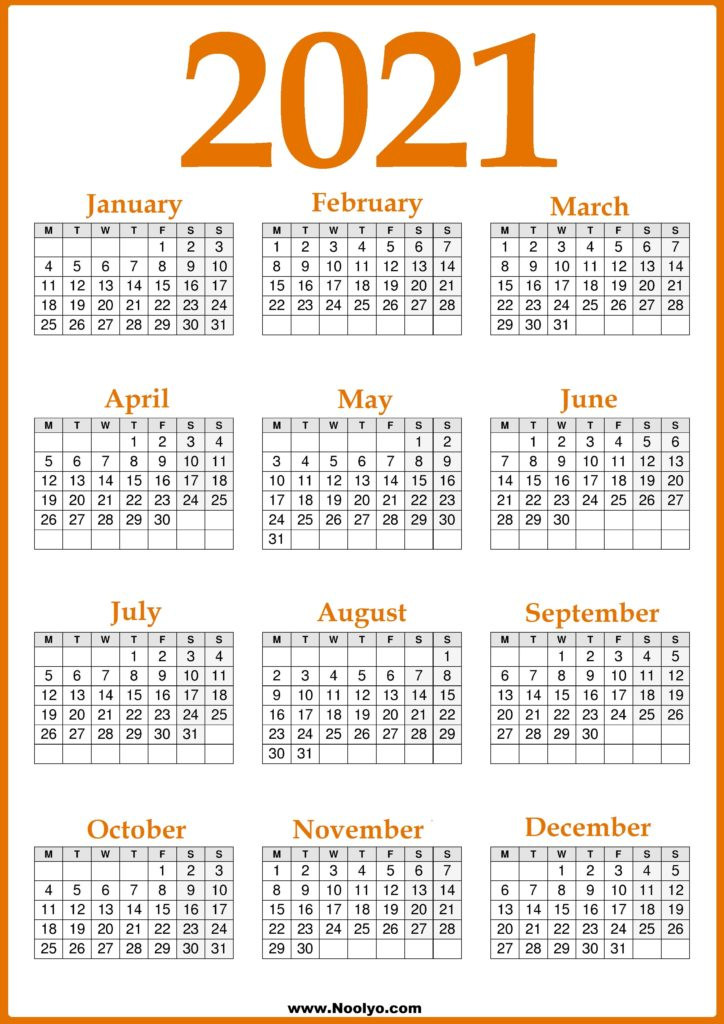 2021 UK Calendar Monday Start, Print-Ready