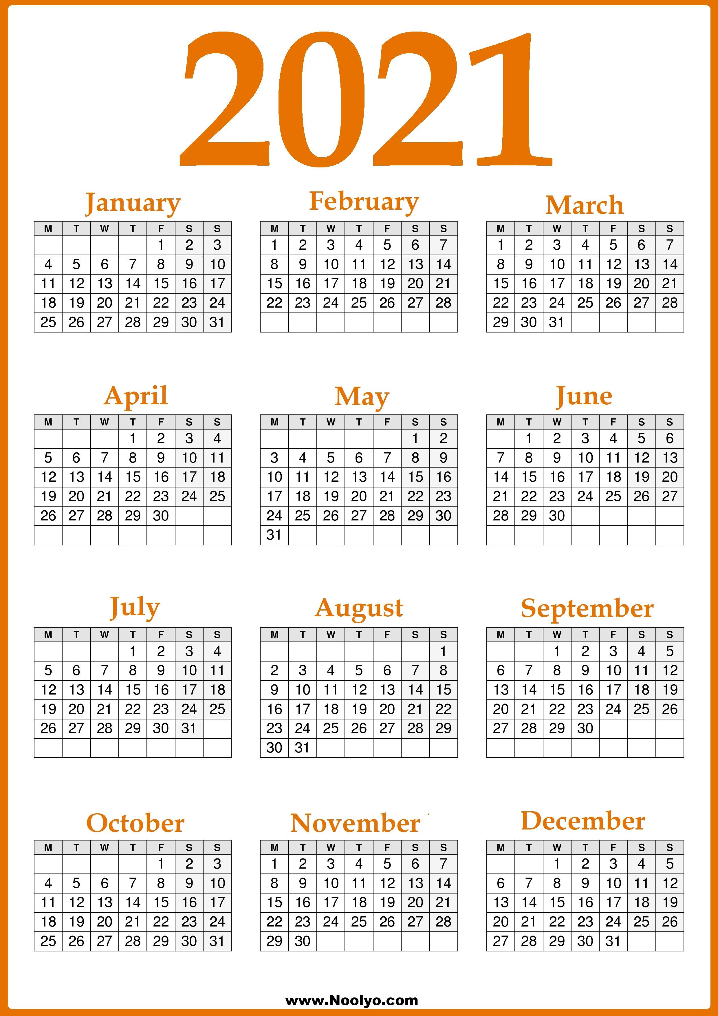 Free Printable 2021 Uk Calendar