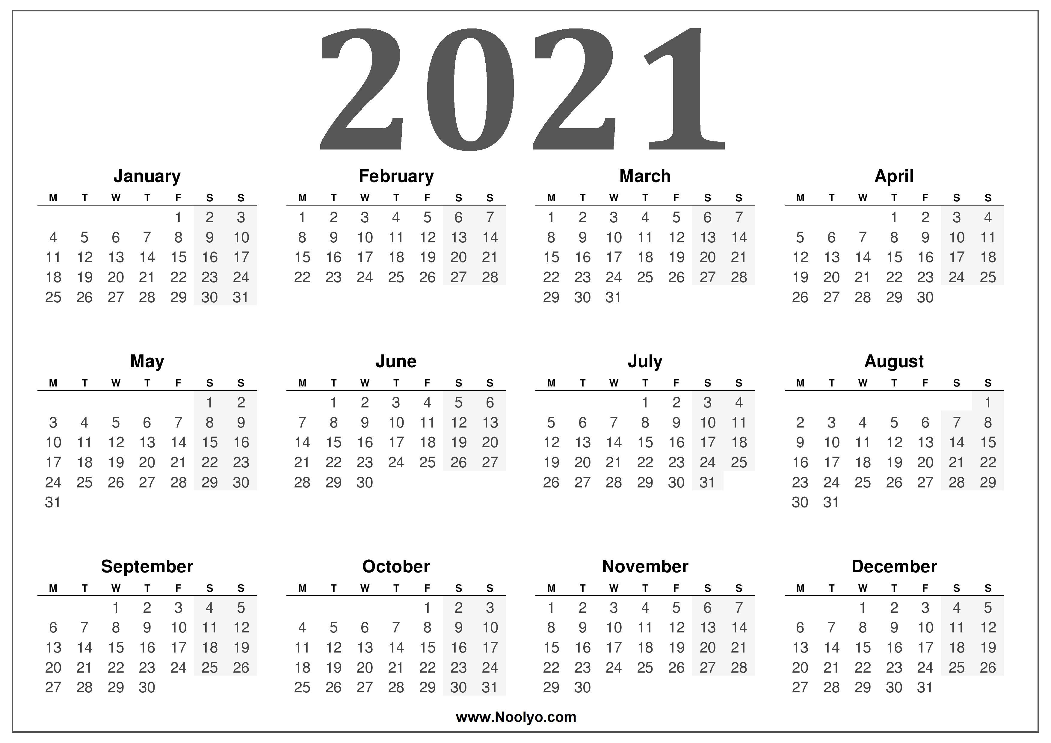 2021 UK Calendar Free Printable Calendar - Noolyo.com