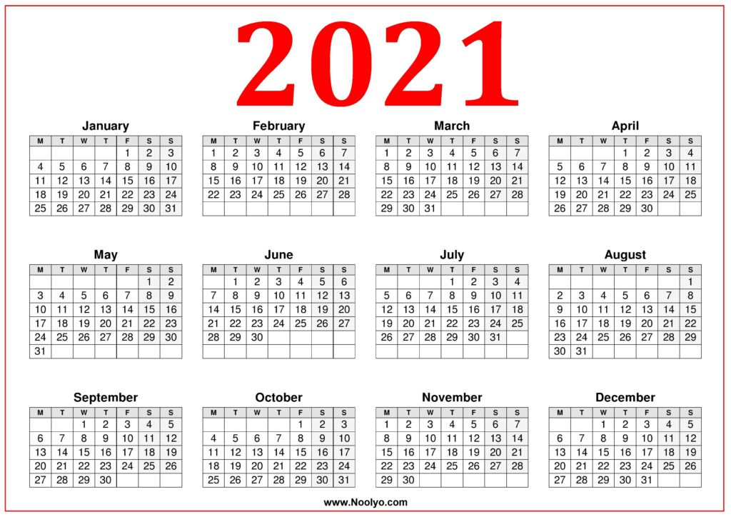 Printable Calendar 2021 Week Starting Monday – Red – Noolyo.com
