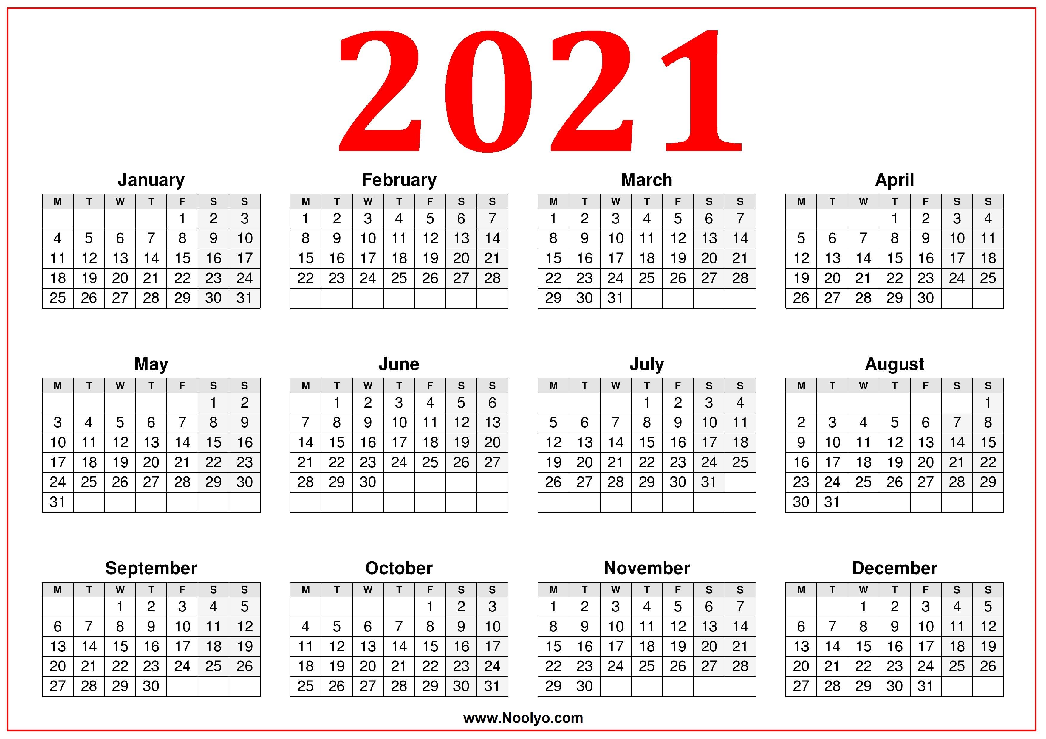 2021 Calendar Monday Start | 2021 Calendar