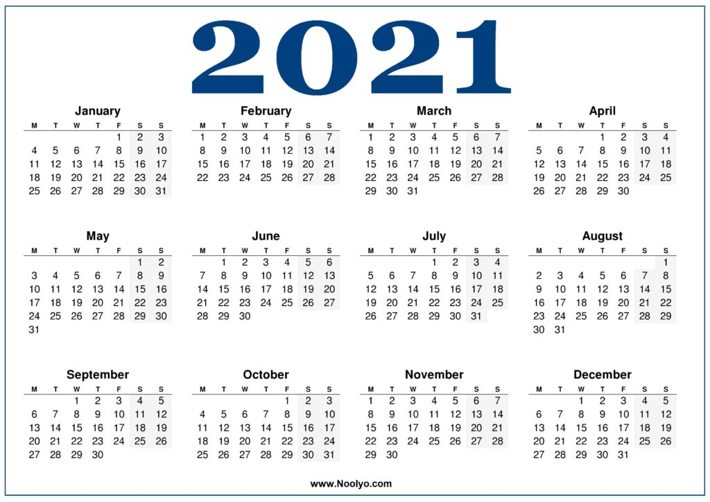 Monday week start Calendar 2021 Blue