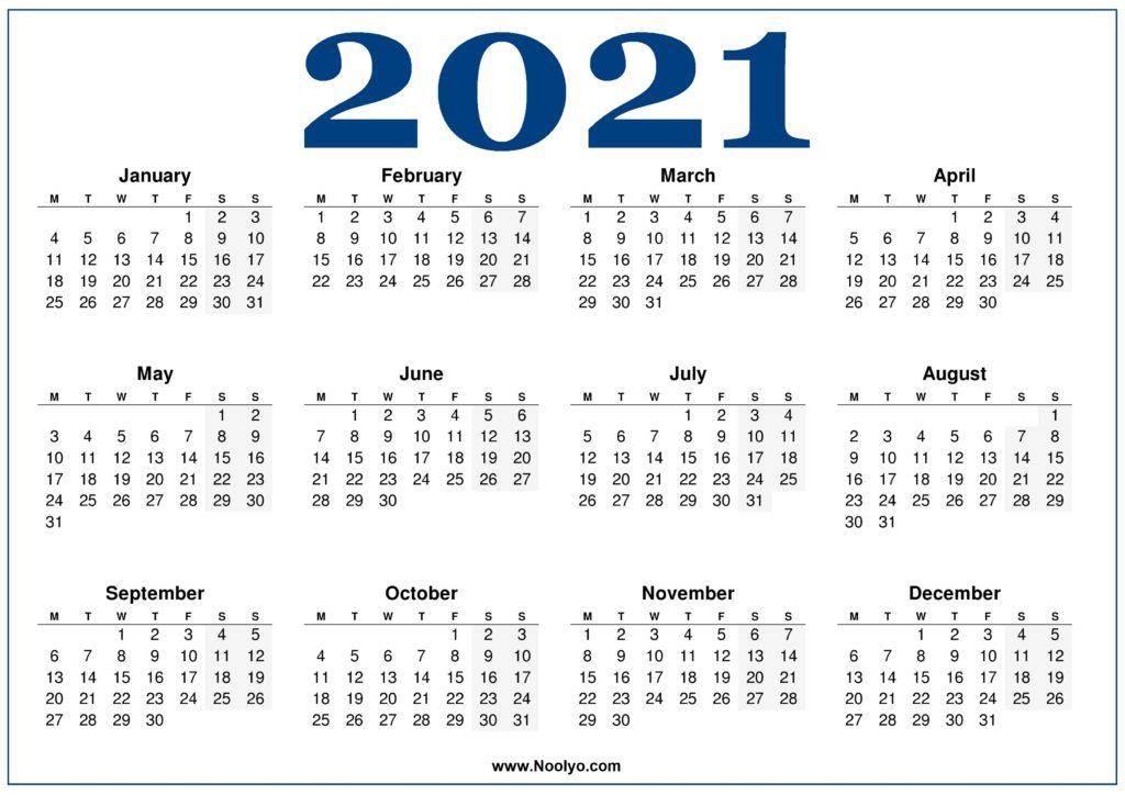 Monday week start Calendar 2021 Blue