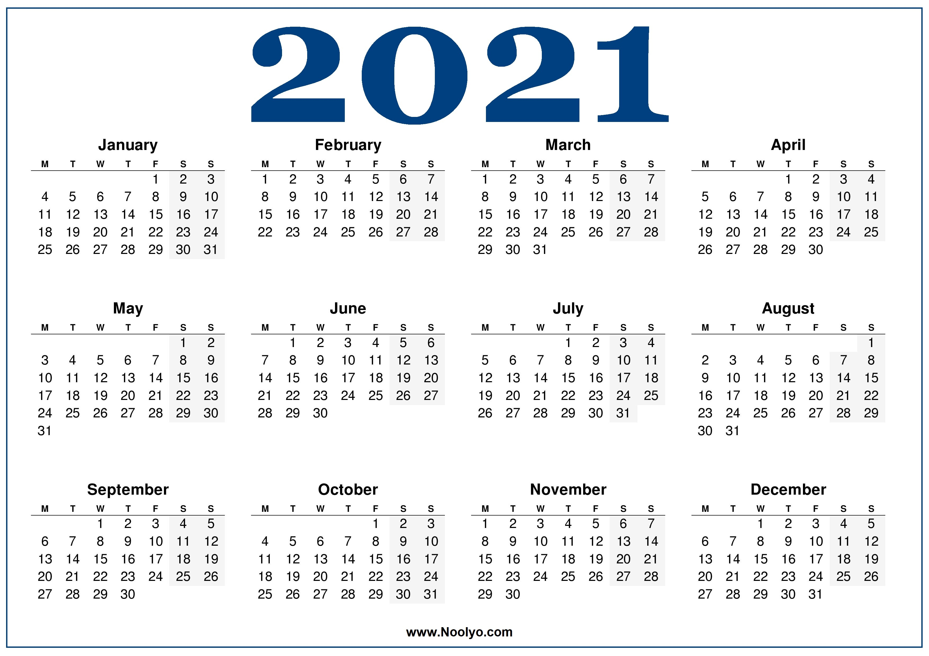 Monday week start Calendar 2021 Blue - Noolyo.com