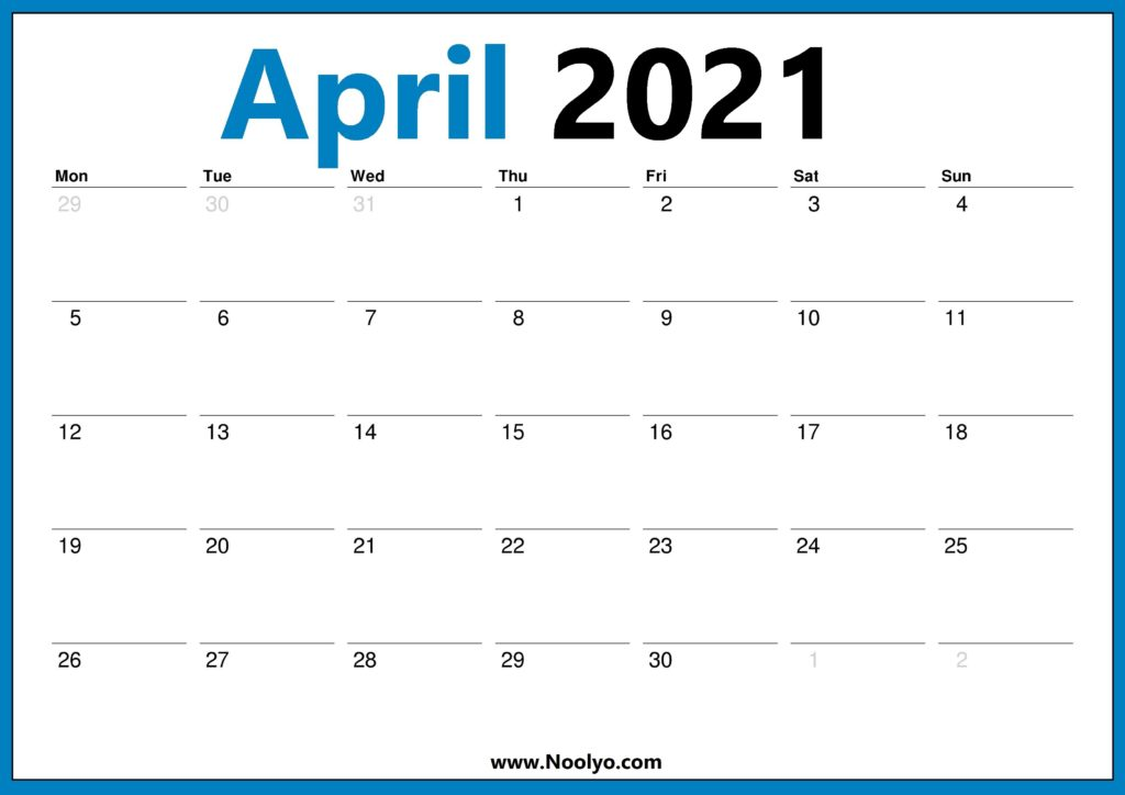 April 2021 Calendar Starts with Monday