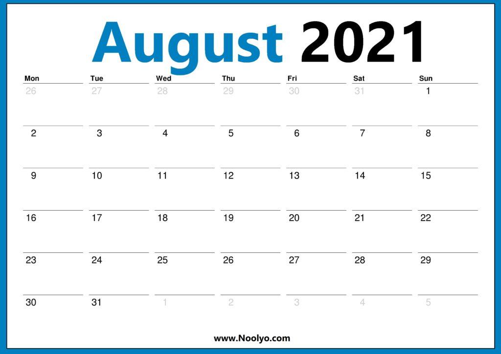 August 2021 Monday Start Calendar Printable