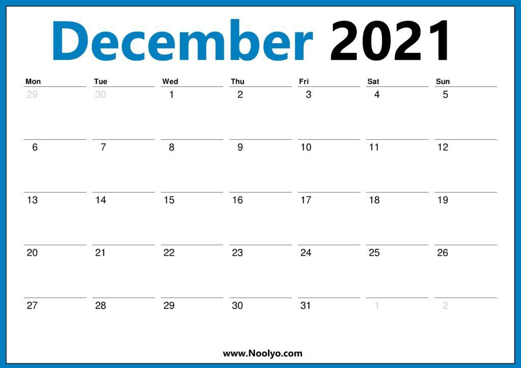 December 2021 Calendar Printable Monday Start