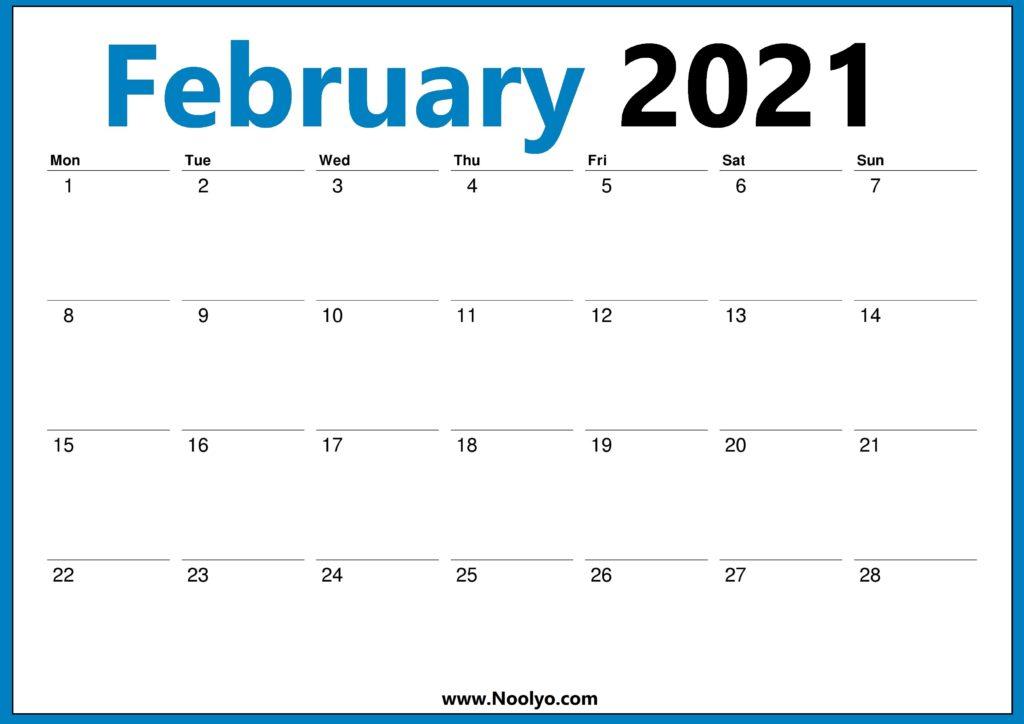 February 2021 Monday Start Calendar Printable