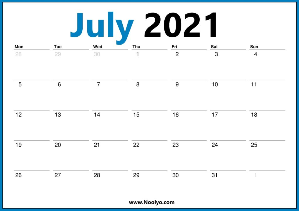 July 2021 Monday Start Calendar Printable Free Download