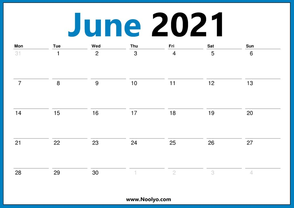 2021 June Calendar Monday Start Calendar Free Downloads