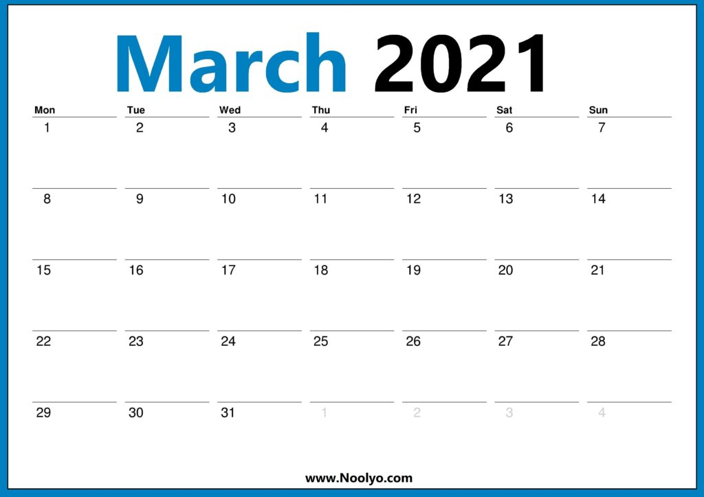 March 2021 Calendar Monday Start One Page