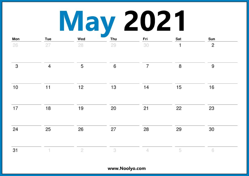 Monday Start May 2021 Calendar Printable HD One Page